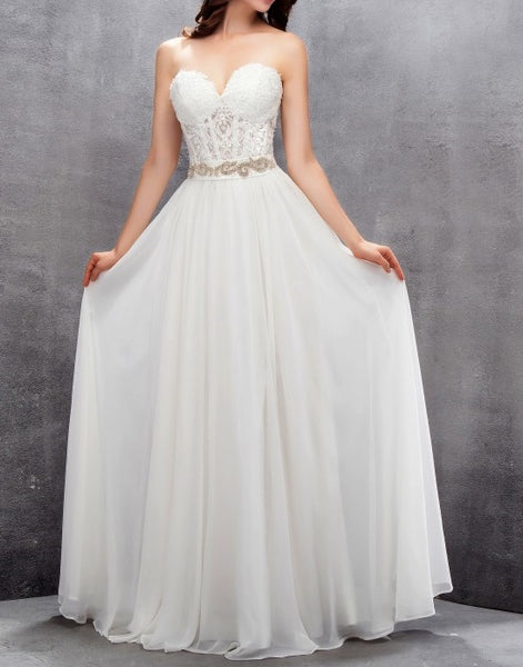 Strapless Chiffon A Line Wedding Gown with Corset Bodice & Embellished Belt