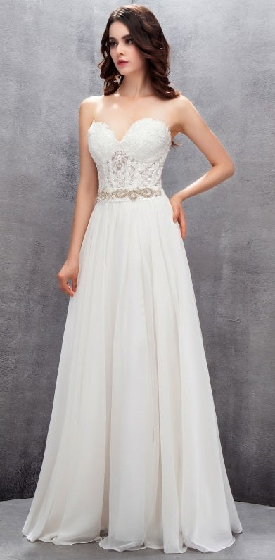 16e0bd4af6f Strapless Chiffon A Line Wedding Gown with Corset Bodice   Embellished Belt