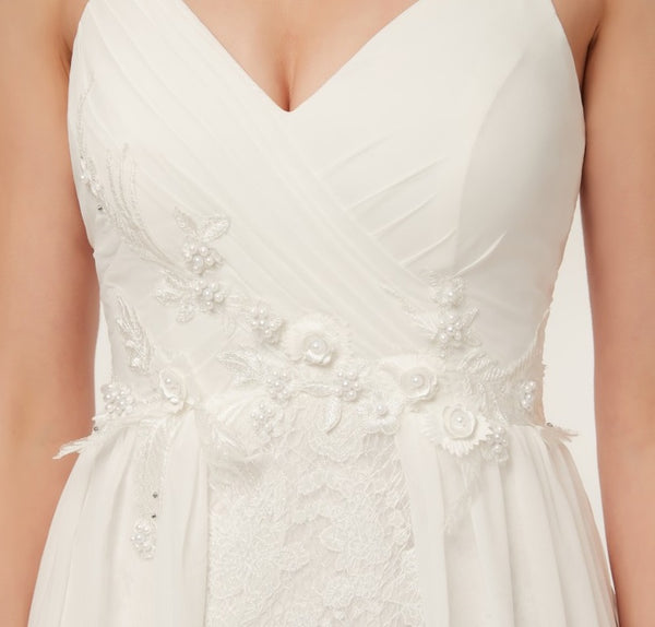 Chiffon A Line Wedding Gown with Embellished Lace Applique and Delicate Floral Lace Skirt - RDevine Fashion (Wedding & Bridal)