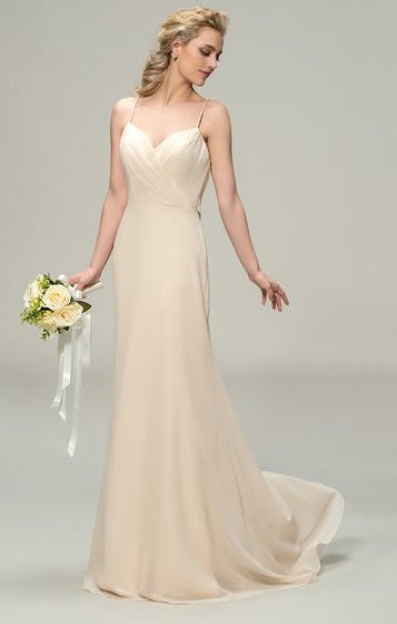Chiffon Sheath Wedding Gown with Sweetheart neckline & Draped Criss-Cross Back Detail - RDevine Fashion (Wedding & Bridal)