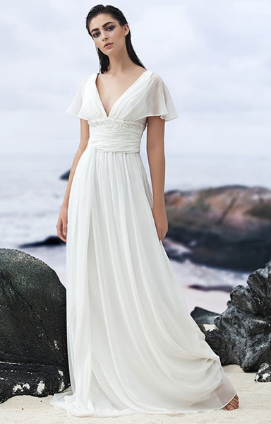 Georgette A Line Wedding Gown With Empire Waist & Embellished Waistline - RDevine Fashion (Wedding & Bridal)