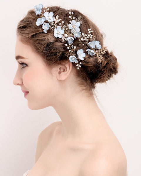 Blue & White Pearl Gold Flower Hair Pin - RDevine Fashion (Wedding & Bridal)
