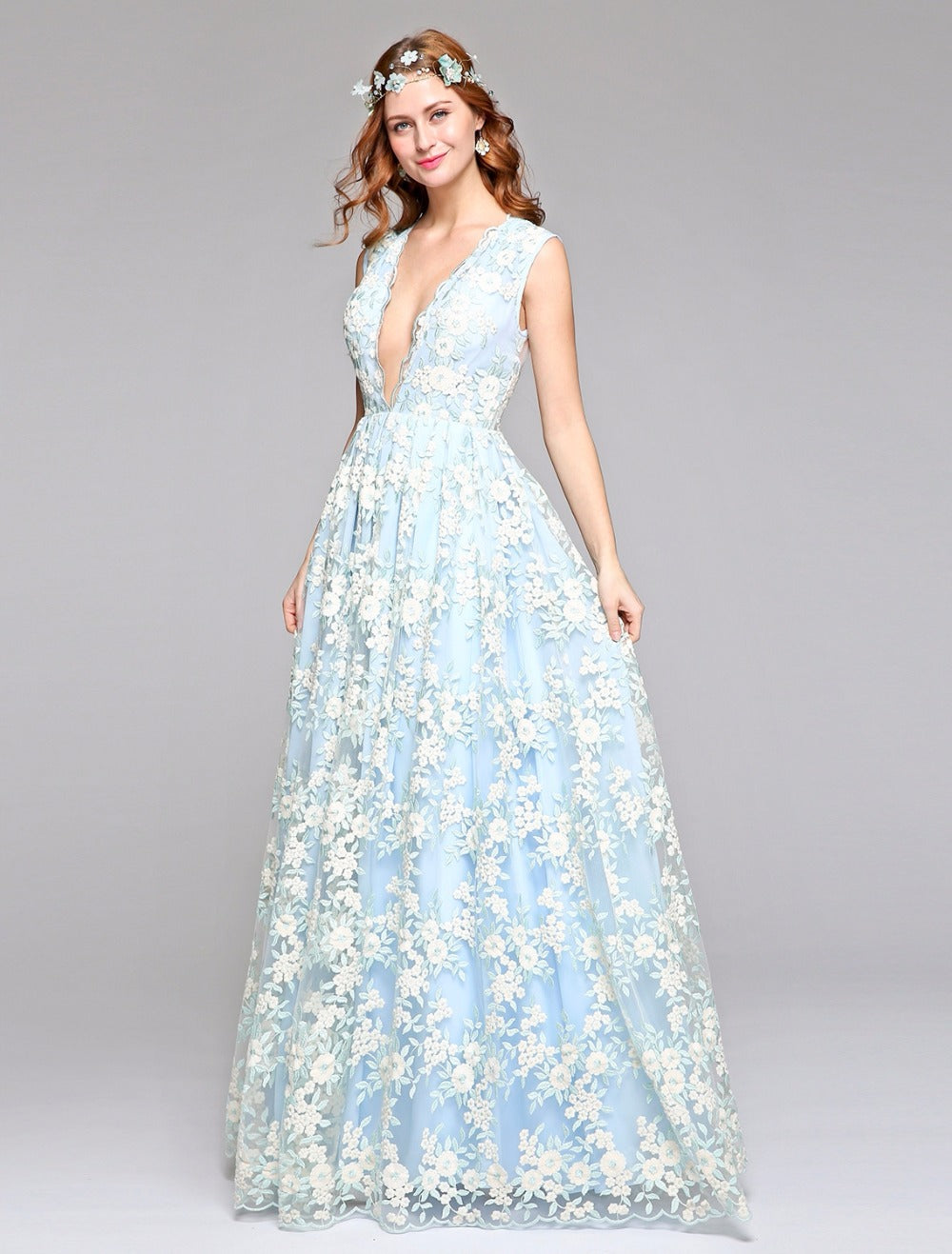 Millennial Blue Wedding Gown with Sheer Illusion