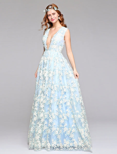 Millennial Blue Wedding Gown with Sheer Illusion Tulle Floral Lace Overlay - RDevine Fashion (Wedding & Bridal)
