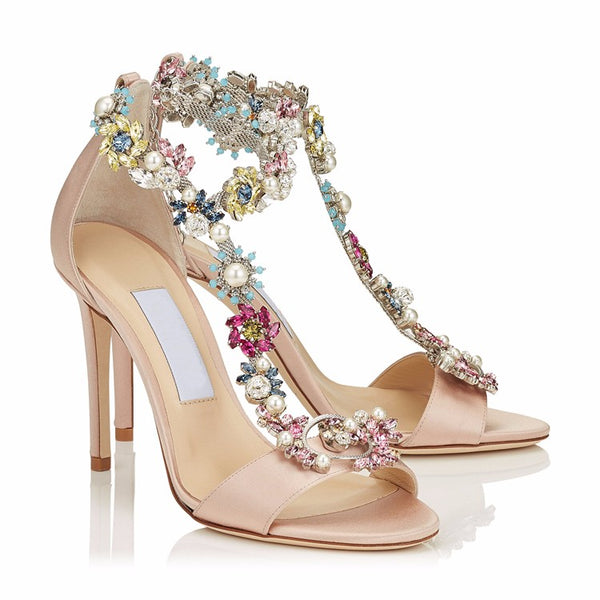 Satin T-Strap Sandal Heels with Flower Rhinestone Embellishment