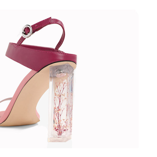 """Shades of Pink"" Sandal Heel with Decorative Clear Block Heel"