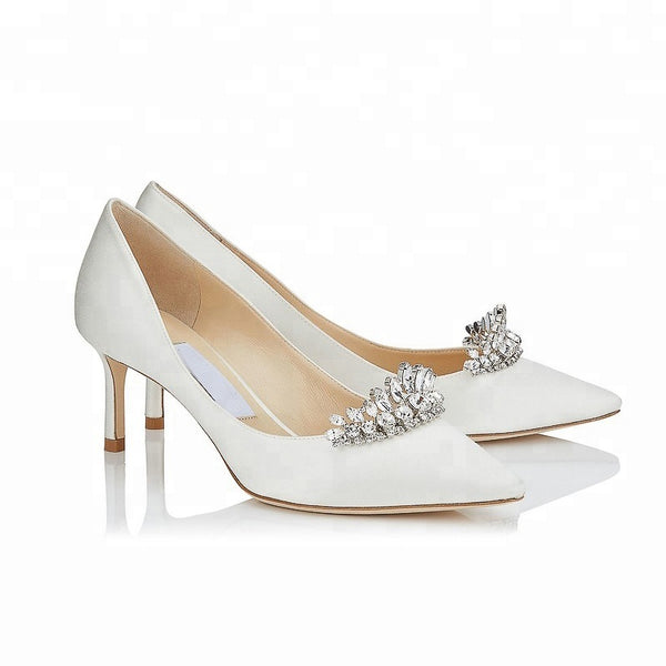 "Pointed Toe Stiletto Heel with Crystal ""Bridal Crown"" Embellishment"