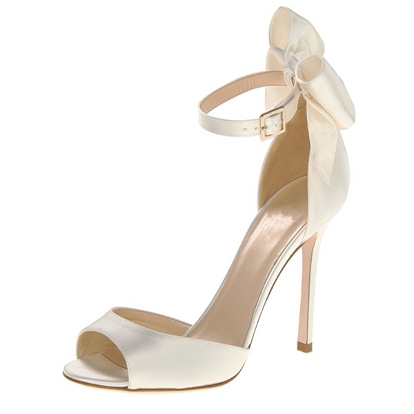 """Satin Dreams"" Ivory Satin Peep Toe Pump"