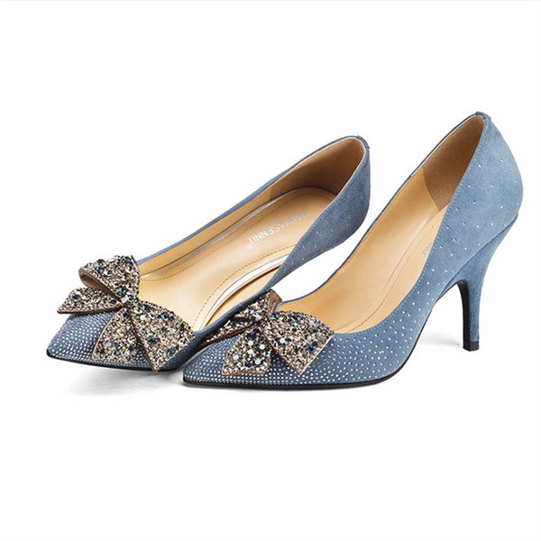 Soft Blue Pointed Toe Pumps with Crystal Bow Embellishment