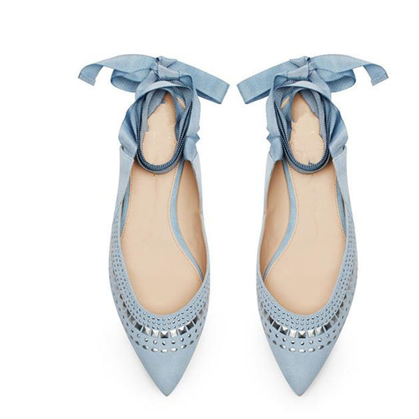 """Millennial Blue for You"" Embellished Ballet Flats"
