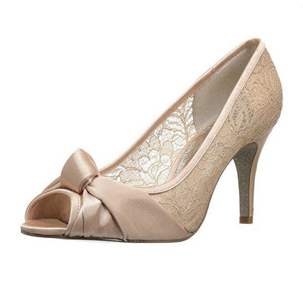 Gold Lace Peep Toe Pump