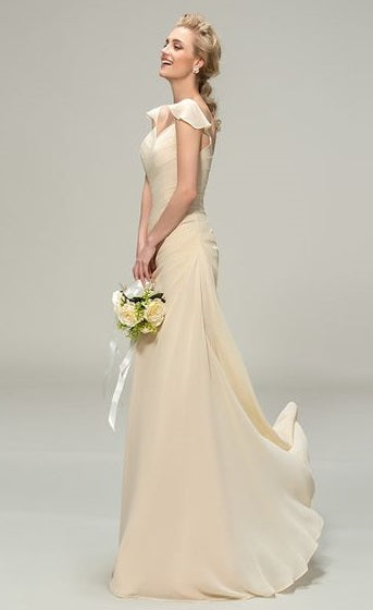 2d6a90779a4 Cream Chiffon Sheath Wedding Gown with Flutter Sleeves and Ruched Bodice - RDevine  Fashion (Wedding
