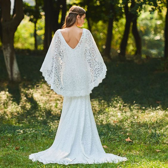 Lace Bohemian Fit & Flare with Plunging Neckline & Fingertip Lace Cape - RDevine Fashion (Wedding & Bridal)