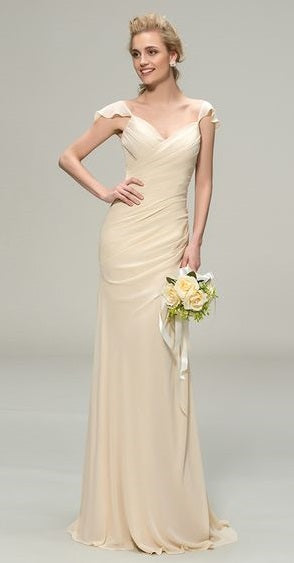 Cream Chiffon Sheath Wedding Gown with Flutter Sleeves and Ruched Bodice - RDevine Fashion (Wedding & Bridal)