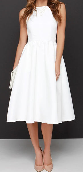 Ivory Halter Midi Dress with Squared Neckline - RDevine Fashion (Wedding & Bridal)