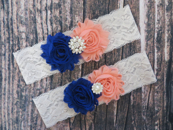 Lace Garter Set with Blue & Peach Rosettes