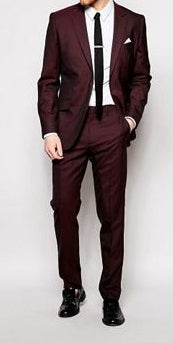 (MTM) Two-Piece Burgundy Tailored Single-Breasted Suit - RDevine Fashion (Wedding & Bridal)