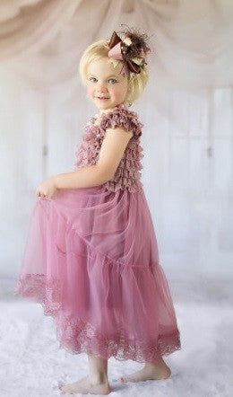 Flower Girl- Vintage Dusty Rose Lace & Chiffon Dress - RDevine Fashion (Wedding & Bridal)