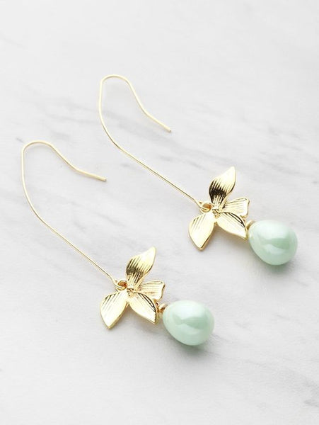 Faux Pearl Leaf Drop Earrings