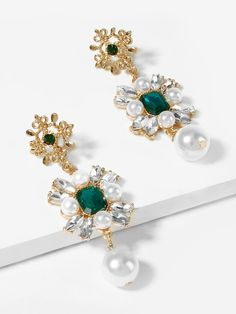 Emerald Crystal & Pearl Flower Drop Earrings
