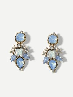 Deco-Inspired Pale Blue Water-Drop Earrings