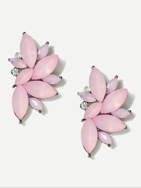 Soft Pink Lotus Flower Gemstone Earrings