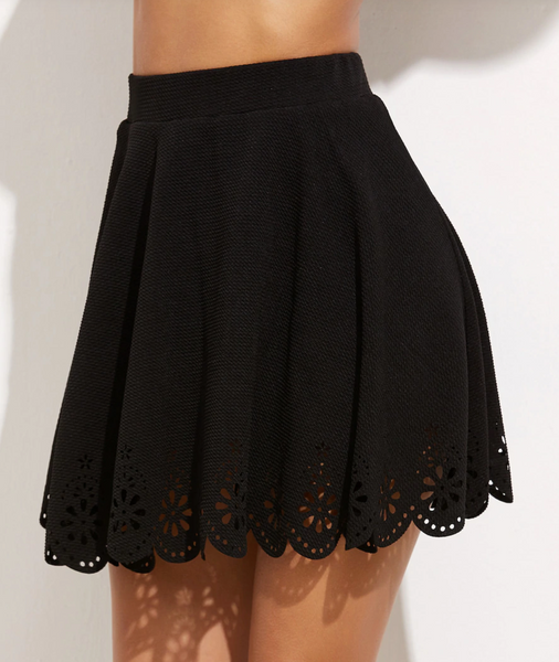 Scalloped Laser Cut Eyelet Mini Skirt