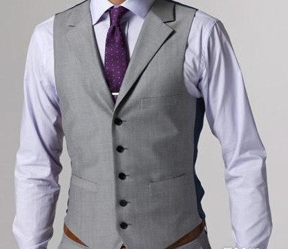 (MTM) Light Gray Notch Lapel Three Piece Suit - RDevine Fashion (Wedding & Bridal)