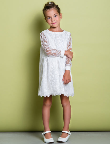 Flower Girl- Long Sleeve Lace-over Tulle Shift Dress