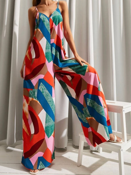 RDevine Casual- Abstract Print Wide Leg Cami Jumpsuit