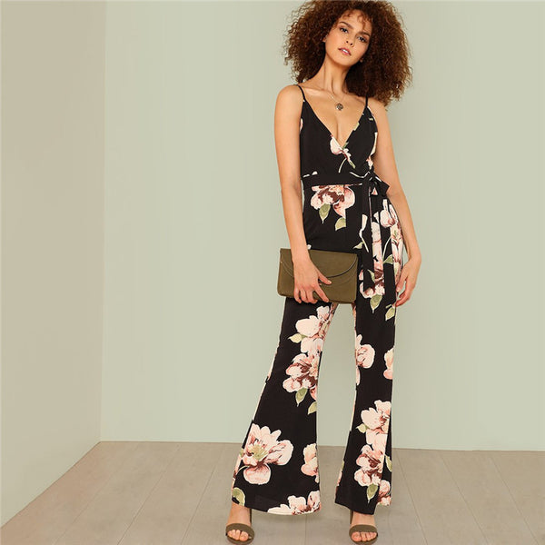 "RDevine Casual- The ""Cornelia"" Floral Print Flared Leg Jumpsuit"