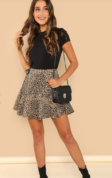 Leopard Print Knot Side Skater Mini