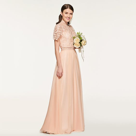 3ae4c857341 Bridesmaid Dress- Dusty Rose Lace Chiffon Dress with High Neckline   Sheer  Lace Bodice -