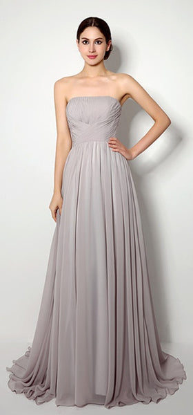 Bridesmaid Dress- Stone Gray Strapless Chiffon A Line Dress with Ruched Bodice - RDevine Fashion (Wedding & Bridal)