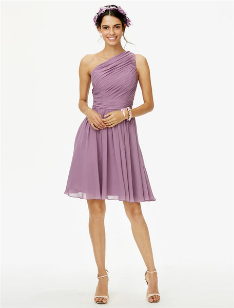 Bridesmaid Dress- One Shoulder Chiffon Dress with Diagonal Pleated Bodice - RDevine Fashion (Wedding & Bridal)