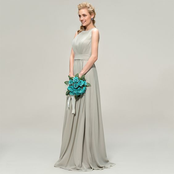 Bridesmaid Dress- Sleeveless Chiffon A Line Floor Length Dress - RDevine Fashion (Wedding & Bridal)