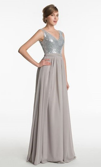 Bridesmaid Dress- Sleeveless Sequin Chiffon Dress with Empire Waist - RDevine Fashion (Wedding & Bridal)