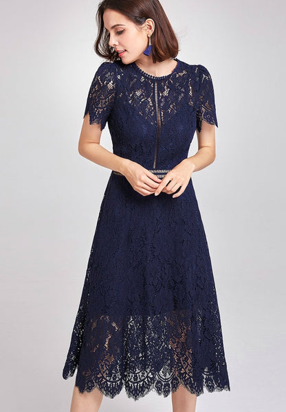 Bridesmaid Dress-Lace Tea Length Dress with Ladder Insets - RDevine Fashion (Wedding & Bridal)