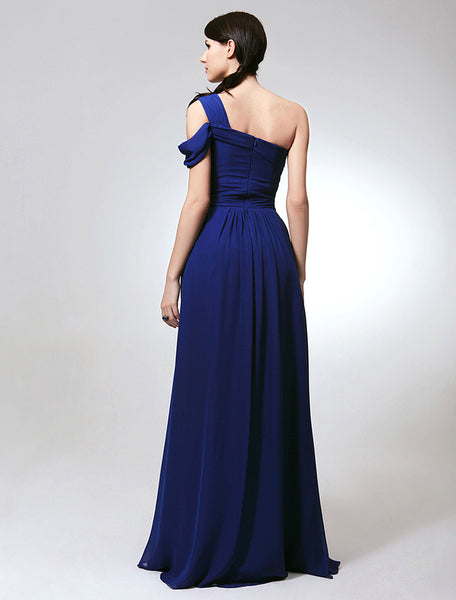 Bridesmaid Dress- Chiffon Draped One-Shoulder Dress with Brooch Detail - RDevine Fashion (Wedding & Bridal)