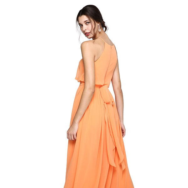Bridesmaid Dress- Chiffon Floor Length Dress with Blouson Bodice - RDevine Fashion (Wedding & Bridal)