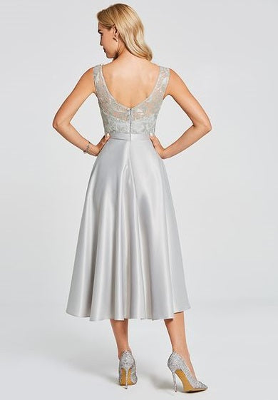 Bridesmaid Dress- Sleeveless Satin & Lace Dress with Asymmetrical Skirt - RDevine Fashion (Wedding & Bridal)