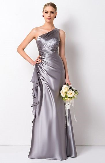 Bridesmaid Dress- Satin One-Shoulder Dress with Ruched Bodice & Ruffle Detail - RDevine Fashion (Wedding & Bridal)