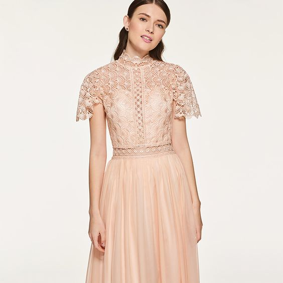 Bridesmaid Dress- Dusty Rose Lace Chiffon Dress with High Neckline & Sheer Lace Bodice - RDevine Fashion (Wedding & Bridal)