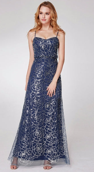 Bridesmaid Dress- Sequined Ankle Length Floral Dress with Sweetheart Neckline - RDevine Fashion (Wedding & Bridal)