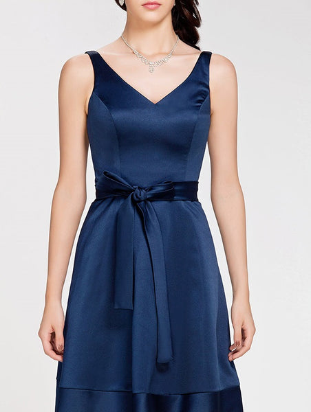 Bridesmaid Dress-Satin Tank Dress with Tied Waist Detail - RDevine Fashion (Wedding & Bridal)