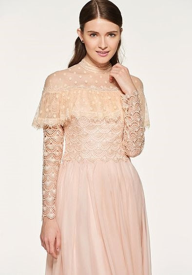Bridesmaid Dress- Chiffon Maxi Dress with High Neckline and Ruffled Lace Caplet Effect - RDevine Fashion (Wedding & Bridal)