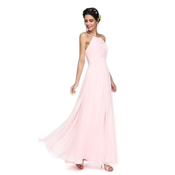 Bridesmaid Dress- Georgette Floor Length Dress with Diagonal Cross Pleated Bodice - RDevine Fashion (Wedding & Bridal)