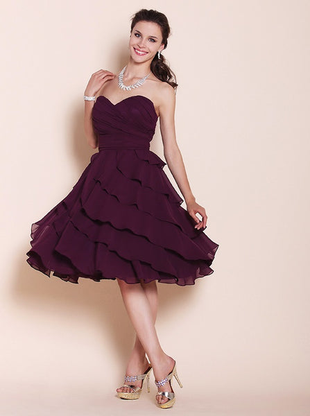 Bridesmaid Dress- Strapless Chiffon Dress with Draped Bodice and Ruffled Skirt - RDevine Fashion (Wedding & Bridal)