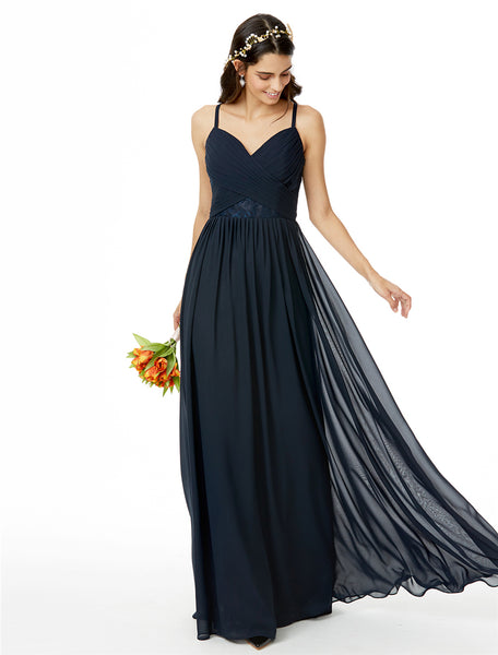 Bridesmaid Dress- Chiffon Racerback Dress with Cross-Bodice Ruching & Lace Insets - RDevine Fashion (Wedding & Bridal)