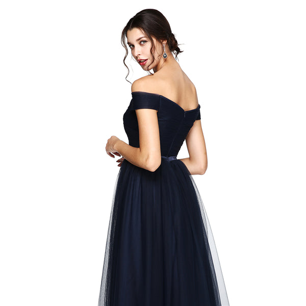 Bridesmaid Dress- Tulle Off-the-Shoulder Dress with Ruched Waistline and Satin Bow - RDevine Fashion (Wedding & Bridal)